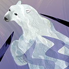 Illustration in a series, On the Edge, Polar Bear mother and her baby baby seeking retreating Arctic sea ice.